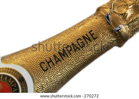Champagne neck on white background - stock photo