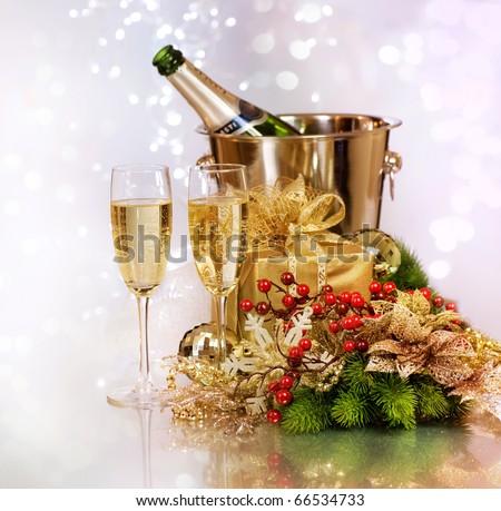 Champagne.New Year Celebration. - stock photo