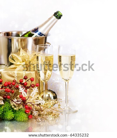 Champagne.New Year's Eve.Celebration - stock photo