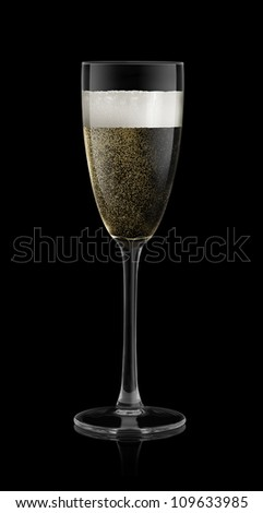 champagne on a black background