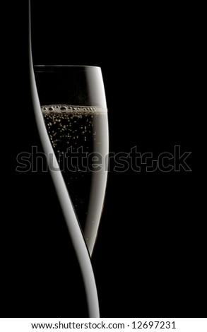 champagne on black background - stock photo