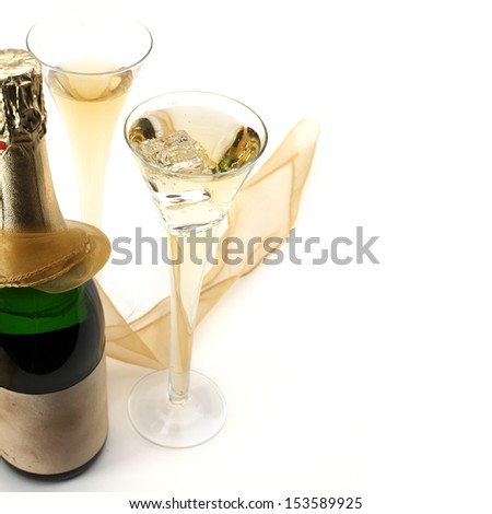 champagne on white  - stock photo