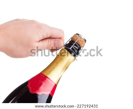 Champagne opening. Isolated on a white background.