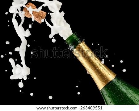 Champagne opening splash, close up - stock photo