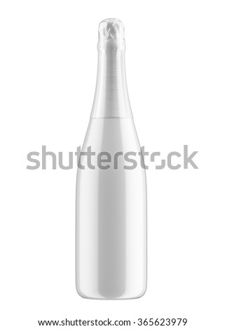 Champagne or sparkling wine bottle isolated on white background. 3D Mock up for you design. - stock photo