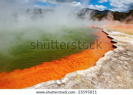 Champagne Pool, hot thermal spring, Rotorua, New Zealand - stock photo