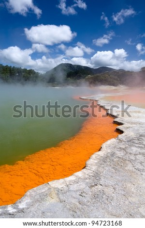 Champagne Pool in Wai-O-Tapu Geothermal Wonderland, New Zealand - stock photo