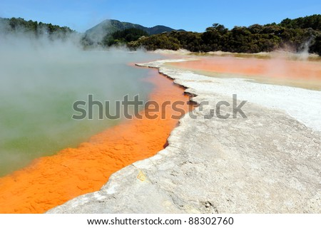 Champagne Pool in Wai-o-Tapu Thermal Wonderland, Rotorua, New Zealand - stock photo