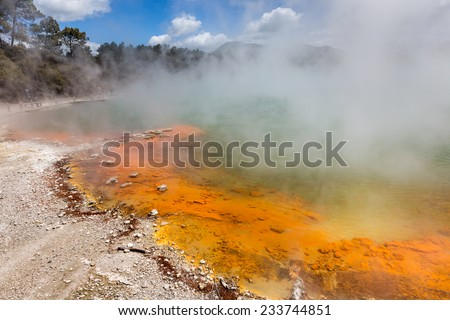Champagne Pool in Waiotapu Thermal Reserve, Rotorua, New Zealand - stock photo