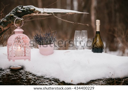 Champagne pouring in two glasses. winter forest - stock photo