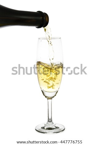 champagne pouring into a glass isolated on the white background