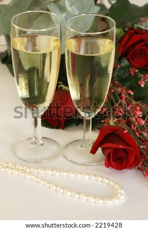 Champagne, roses and pearls