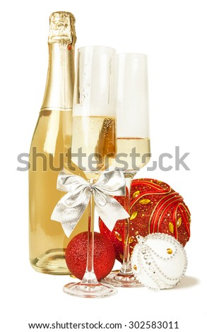 Champagne sparkling wine and new year composition isolated - stock photo