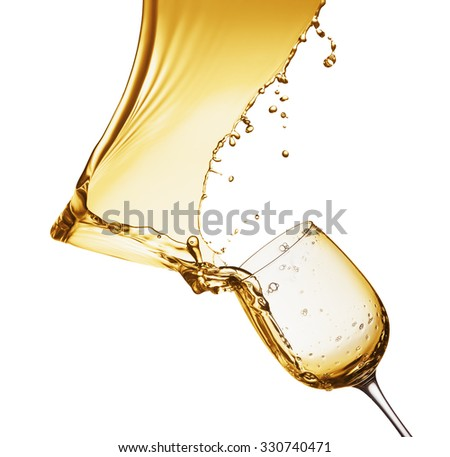 champagne splash from glass isolated on the white background
