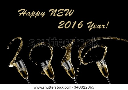 Champagne splash, Happy New 2016 Year! - stock photo