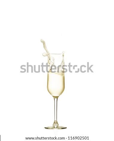Champagne splash in drops - stock photo