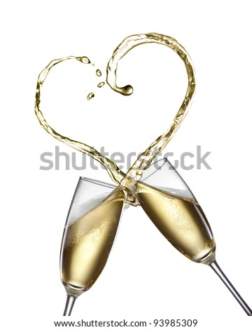 Champagne splash in shape of heart isolated on white - stock photo
