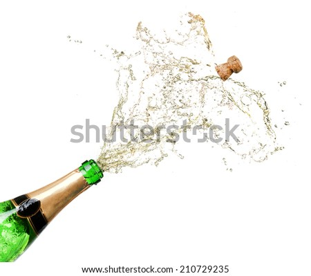 Champagne splashes isolated on white - stock photo