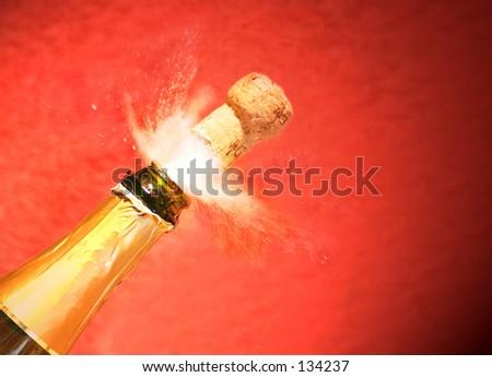 Champagne spraying. - stock photo