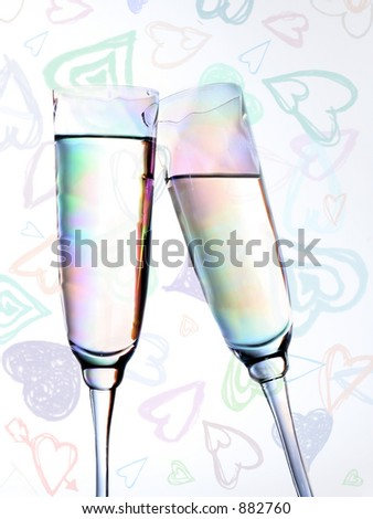 champagne toast on a valentine's background