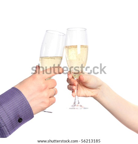 Champagne toast. Two hands with glasses of champagne isolated on a white background - stock photo