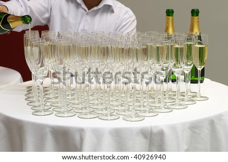 Champagne welcome for guests. - stock photo