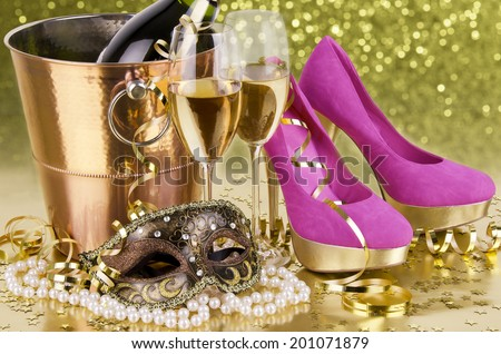 Champagne with blur light, in golden tone, suited for party event concept - stock photo