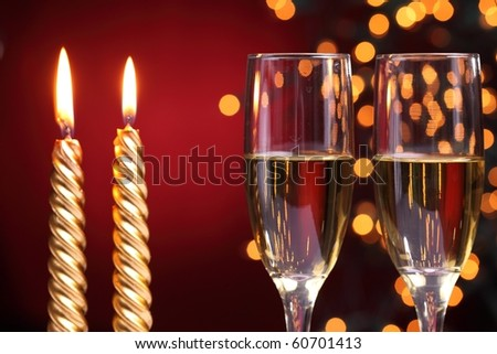 Champagne with holiday lights  background - stock photo