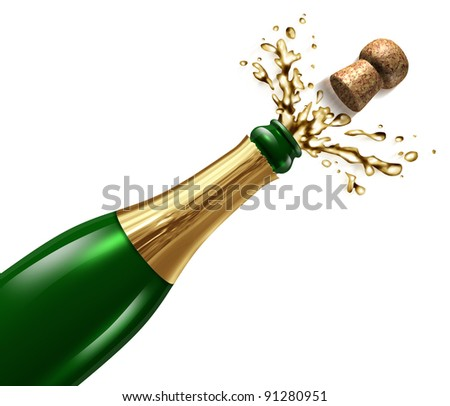 Champagne with splash and flying cork explosion as a symbol of celebration and party happiness for an important occasion like New year's eve or a successful result to uncork the glass bottle. - stock photo