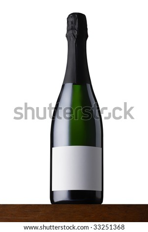 champagner bottle on wood - stock photo