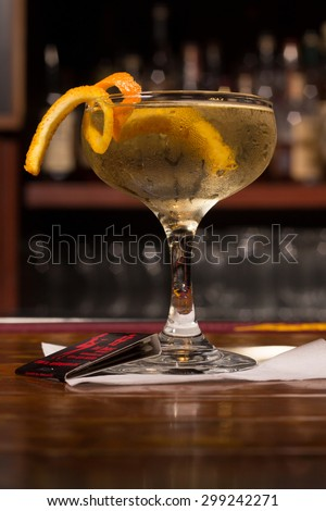 Champaign Cocktail with Orange Zest - stock photo