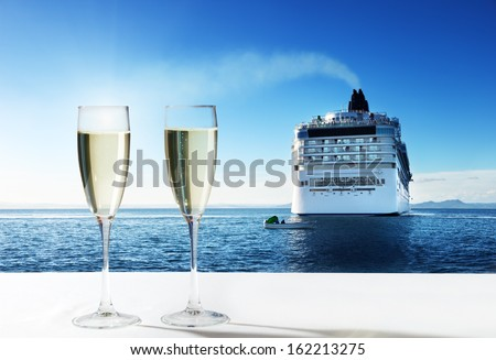 champaign Glasses and  cruise ship - stock photo