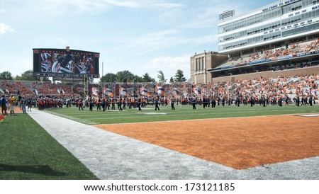 CHAMPAIGN,IL-SEPTEMBER 28: The Illini band pump up the crowd to prepare for a game against Miami-OH on Saturday, Sept 28, 2013.