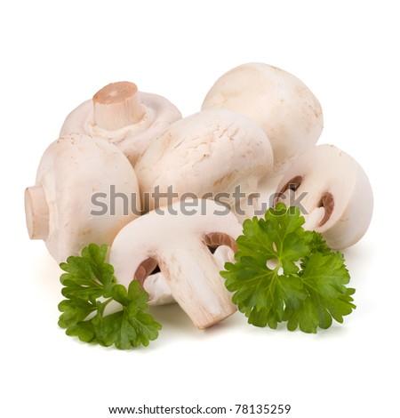 Champignon mushroom and fresh parsley isolated on white background - stock photo