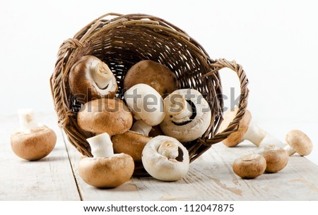 Champignon mushroom on a wooden table - stock photo