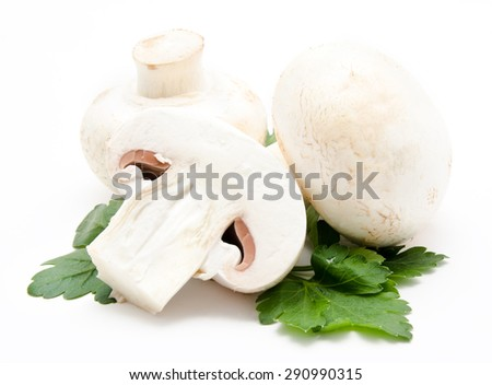 Champignon mushroom white agaricus with parsley isolated - stock photo