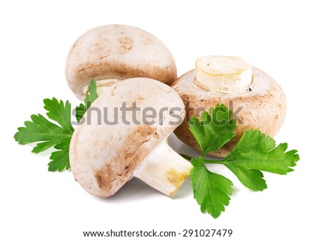 Champignon mushroom with parsley isolated on white - stock photo