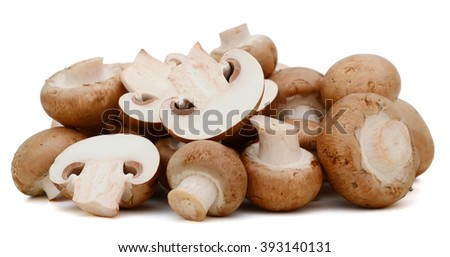 champignon mushrooms on white background  - stock photo