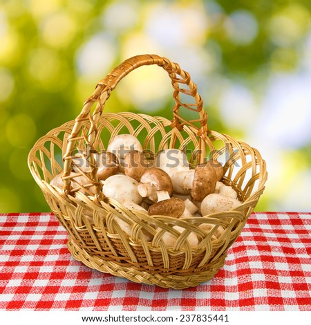 champignons in basket closeup - stock photo
