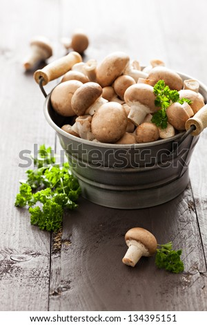 champignons with parsley in a bucket
