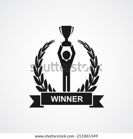 Champion cup and laurel wreath with ribbon, banner and finish flags.  - stock photo