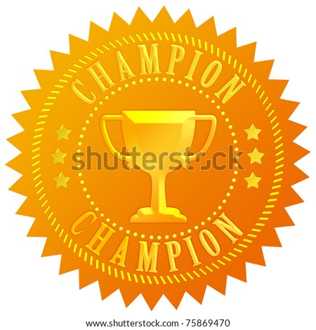 Champion gold seal - stock photo