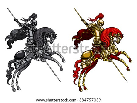 Champion Knight on a horseback.Illustration victorious knight with lance on a horse, stand up on its hind legs. In two alternative colour version for design.  - stock photo