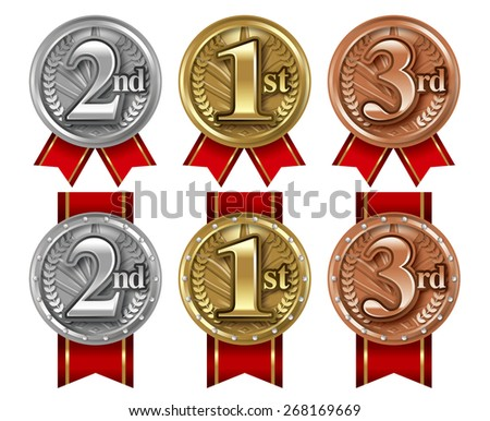 Championship medal illustrations./ White Background. - stock photo