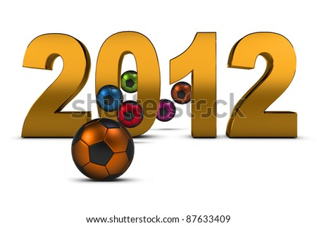 Championship of Europe on football 2012 , 3D - stock photo