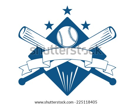 Championship or league baseball emblem with a blank wavy ribbon banner with copyspace over crossed bats and a ball superimposed on a diamond with stars, blue and white - stock photo