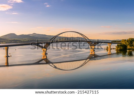 Champlain Bridge across Lake Champlain connecting New York and Vermont - stock photo