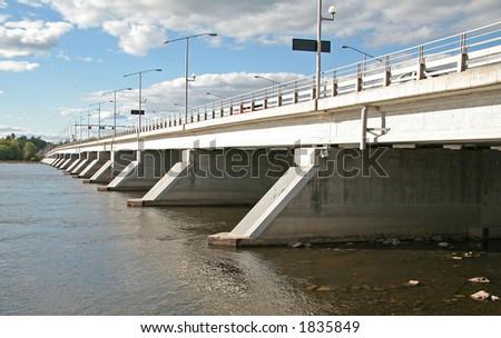 Champlain bridge connecting Ontario and Quebec - stock photo