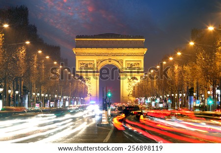 Champs elysees and Arc de Triumph, Paris - stock photo