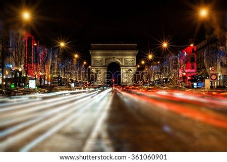 Champs Elysees at night - tilt and shift effect - stock photo